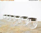 25% OFF SALE silver roly poly shot glasses, mad men style shot glasses, 60s barware