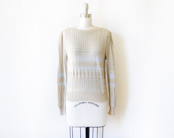 silver and gold sweater, vintage 70s metallic sweater, pointelle knit striped sweater, medium