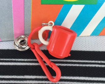 Vintage 80's Plastic Bell Clip Little Red Coffee Cup Charm Toy Necklace Jewelry Pendant