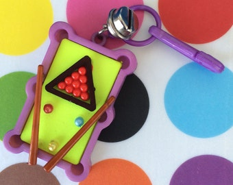 Vintage 80's Plastic Bell Clip Billiards Miniature Pool Table Charm Toy Necklace Jewelry Pendant