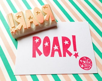 roar hand carved rubber stamp. lion stamp. hand lettered stamp. calligraphy stamp. quirky birthday scrapbooking. fun gift wrapping. large