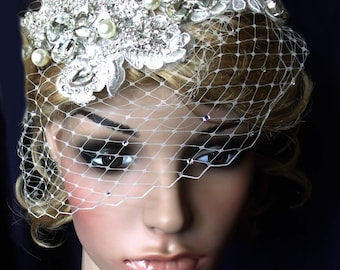 White or ivory WEDDING BRIDAL veil birdcage bandeau with Swarovski crystals decorated. pearl and crystal headpiece hair clip