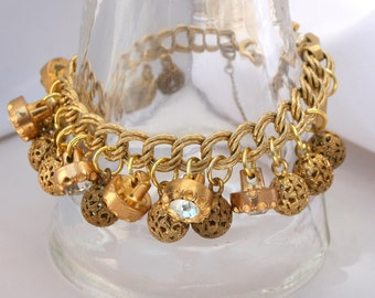Stunning Vintage Gold Metal Bracelet with Vintage Gold Filigree Buttons and Gold Rhinestone Buttons Safety Chain