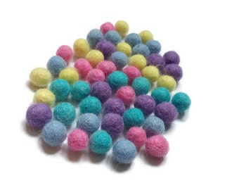 Felt Balls Easter Color Mix - 50 Pure Wool Beads 10mm  (W200F)