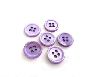 Mother of Pearl Shell Buttons 15mm - set of 6 eco friendly purple buttons  (BN656E)