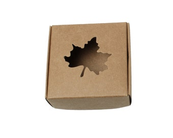 10 Kraft Gift Boxes - Light Brown Maple Leaf Pattern folding jewelry boxes 3 inches  (XP004)