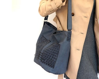 "large zipper shoulder bag, lined blue leather bag with pockets - genuine cow leather tote - italian quality leather ""TESSA"""