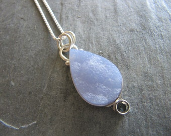 Pendant of Blue Botryoidal Agate with Sapphire in Sterling Silver