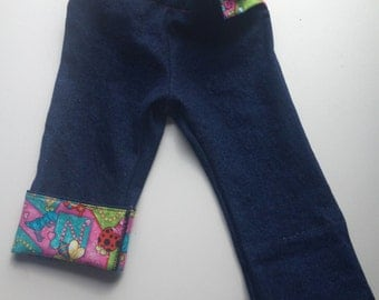Dark Navy Denim Baby Pants with Cute Bug Pink Cuffs