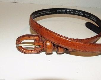 Brown Ostrich Embossed Skinny Leather LIZ CLAIBORNE Women's Belt- Size Medium 1400