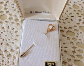 Vintage 12K Gold Filled Heart Stickpin with Genuine Opal in Box NOS New Old Stock