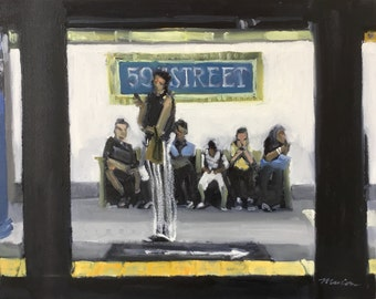 """NYC Subway Painting . """"59th Street"""" 16x20 in."""