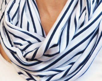 Infinity Scarf - White and Navy Striped Cotton Knit
