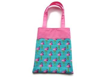 Fabric Flamingo Gift/Goodie Bag - Pink Flamingos