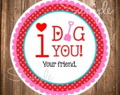Valentine's Day Gift Tags, INSTANT DOWNLOAD Valentine Tags, I Dig You Valentine, DIY, Printable I dig you stickers
