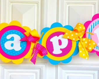 You Are My Sunshine Banner, Deluxe XL Party Banner in Hot Pink, Yellow and Sky Blue, You are My Sunshine Birthday Party