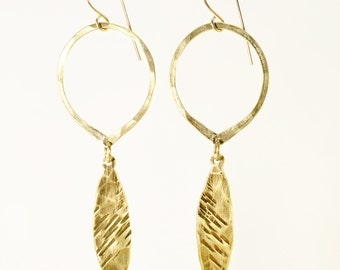 Hoop and Feather Earrings