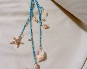 Handmade Ocean Seashells Drop Fringe Long Necklace