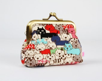 Metal frame change purse - Colorful kitties - Big mum / Kawaii japanese fabric / Red black blue mint pink grey / Retro style