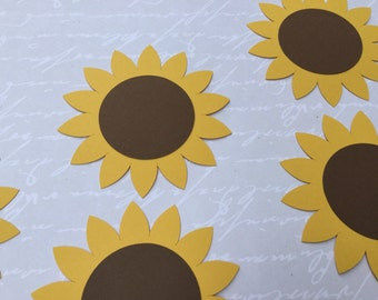 large sunflower die cuts 25 confetti garden party gift tag baby shower wedding