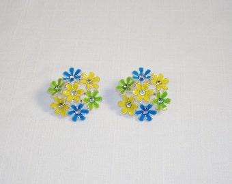 Lovely Silver Tone & Multicolor Enamel Daisy Post Earrings