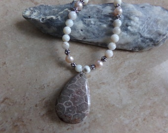 Ocean Jasper, Freshwater Pearls, Mother of Pearl and Bali Silver Necklace
