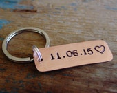 Date Keychain,Custom Hand Stamped,Personalized,Copper,Engagement Gift,Anniversary Gift, Wedding Date,Groom Gift,Wedding Gift,Day to Remember