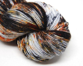 "Acoustic Sock Yarn - ""Burned at Both Ends"" - Handpainted Superwash Merino - 400 Yards"