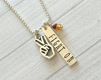 Fight On Necklace - Trojan Pride Necklace - USC Necklace - USC Jewelry - USC Graduation Gift