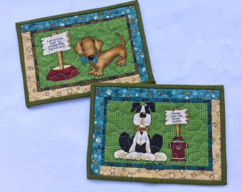 Quilted Mug Rugs Set of 2, Rescue Dogs Mug Rugs, Dog Snack Mat, Quilted Mini Placemat