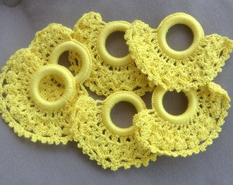 6 Vintage Window Shade Pulls, Crocheted, Bright Yellow