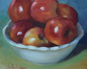 Bowl of Red Apples,Still Life Art, Original Oil Painting On Canvas Art by Cheri Wollenberg