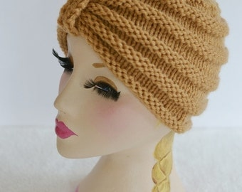 Knitted Turban Beanie Hat, Warm Chunky Hat, Knitted, Butterscotch, Knit hat, UK, Xmas Gift Present