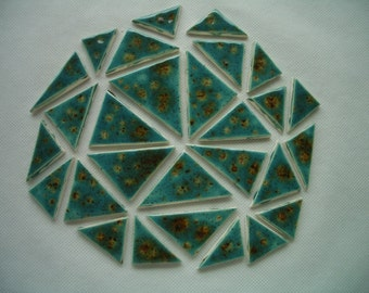 28M - BEAUTIFUL 28-pc Crystal Glazed TRIANGLES - Ceramic Mosaic Tile Set