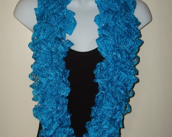 Infinity Fashion Ruffle Sashay Scarf Style I/Hand Crocheted/Fancy Scarf/Spring Accessories/Women's Accessories/Frilly/Summer /Turquoise