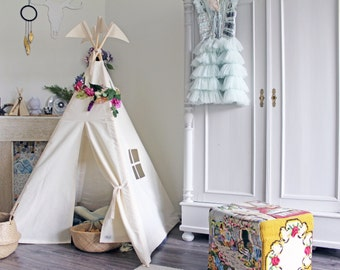 Kids teepee | tipi | play tent | high quality play teepee with mat and poles | childrens teepee | play house | cotton teepee | MIDI size