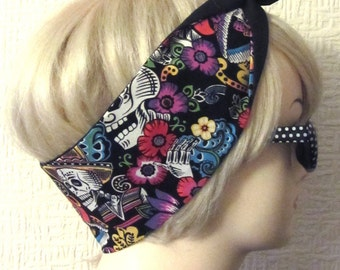 Sugar Skull Catrina Hair Tie Day of The Dead Flowers in Black , Rockabilly Head Scarf by Dolly Cool