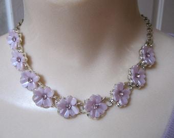 RESERVED palest lavender thermoset flower link necklace, pink/lavender small flower necklace, tiny pink/lavender flower adjustable necklace