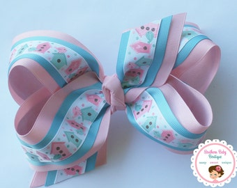NEW----Triple Layered Ribbon X X-Large 6.5 Inch Hair Bow----Birdhouses----Pink & Turquoise
