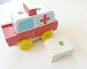 Vintage Childrens Puzzle Blocks Ambulance Montessori Reggio Wood Blocks Moving Puzzle