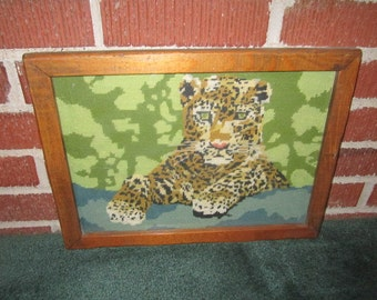 Vintage Beautiful Framed Wool Needlepoint of Leopard Under Glass