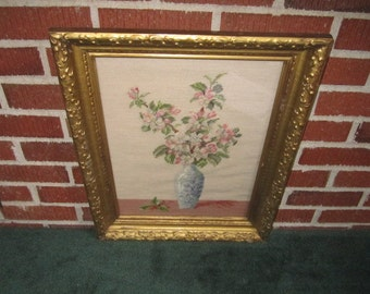 Vintage Beautiful Framed Pink Blossoms in Blue Vase Needlepoint Wall Decor