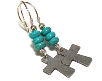 Rustic Cross Earrings Sterling Silver Earrings Pewter Hammered Textured Cross Jewelry Spiritual Western Turquoise Dangle Earrings
