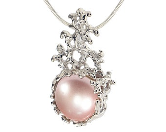 CORAL Pink Pearl Pendant Necklace, 14k White Gold Pink Pearl Necklace Wedding, Bridal Pearl Necklace Gold, Bridal Jewelry Pearl