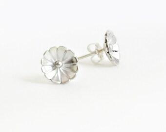 Flower Stud Earrings, Sterling Silver, Floral Jewelry, Simple Earrings, Post Earrings