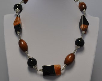 Agate, Rainbow Obsidian and Wood Necklace with Matching Earrings