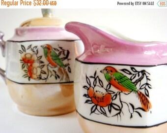 Valentines Sale Lusterware Cream Sugar Set, 1930s Japanese Lusterware, Pink and Orange Birds, Retro Kitchen Housewarming Gift, Valentines Da
