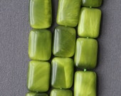 Frosty Green Bead Strand - Cat's Eye Style Chatoyant Rectangle Beads
