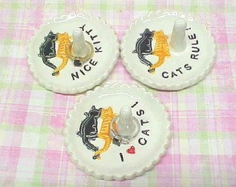 "Happy Cat Ring Holder Dish Jewelry Dish ""Cats Rule,"" ""I (Heart) Cats,"" ""Nice Kitty,"" ""Meow's the Word."" Black / Orange Cat, Personalize Dish"