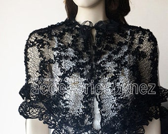 OOAK-Pretty Knitted Capelet,Shawl, Poncho in Black